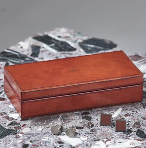 Personalised Leather Cufflink Box - gifts for grandfathers