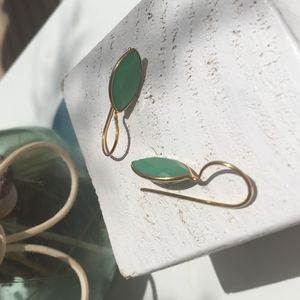 Green Chalcedony Drop Earrings