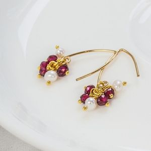 Gold Pearl And Garnet Cluster Earrings - winter sale