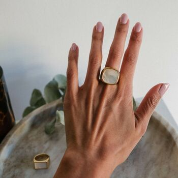 Margaux White And Gold Signet Ring