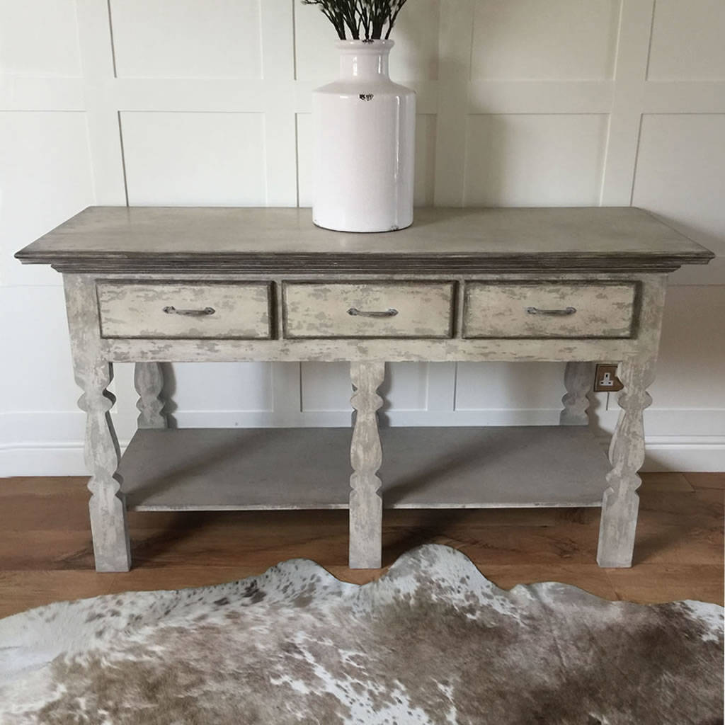 Distressed Grey Console Hall Table By Cowshed Interiors