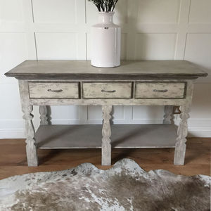 Distressed Grey Console Hall Table - furniture