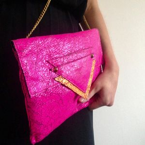 Sofia Pink Leather Clutch Bag