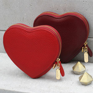 Personalised Luxury Leather Heart Purse - gifts for her