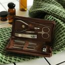 Personalised 'Dad's Man Kit' Leather Manicure Set