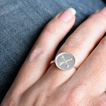Handmade Silver Disc Ring Symbolising Friendship