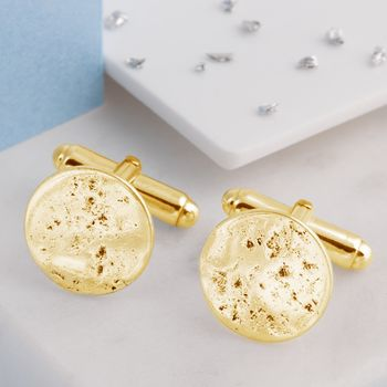 9ct Yellow Gold Ashes Imprinted Round Cufflinks
