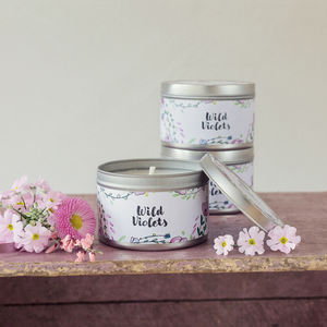 Daisy And Dot Wild Violets Tin Candle