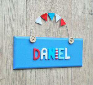 Personalised Wooden Button Door Plaque - children's room