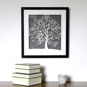 Personalised Framed Family Tree Papercut Picture - mixed media & collage
