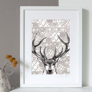 'Tartan Stag' Illustrated Scottish A3 Print