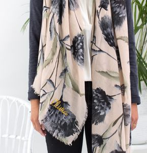 Personalised Thistle Scarf In Grey To Stone - gifts for her