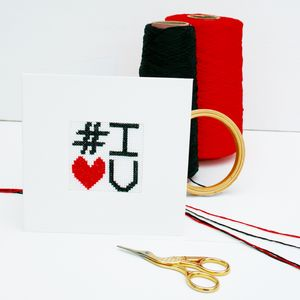 Cross Stitch Your Own Greetings Card Kit, #I Love You