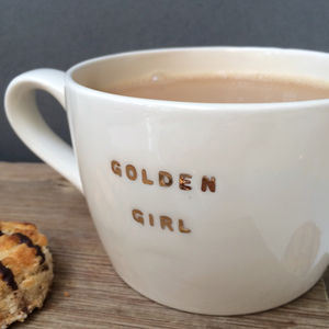 Golden Girl Gold Metallic Mug - keeping cosy
