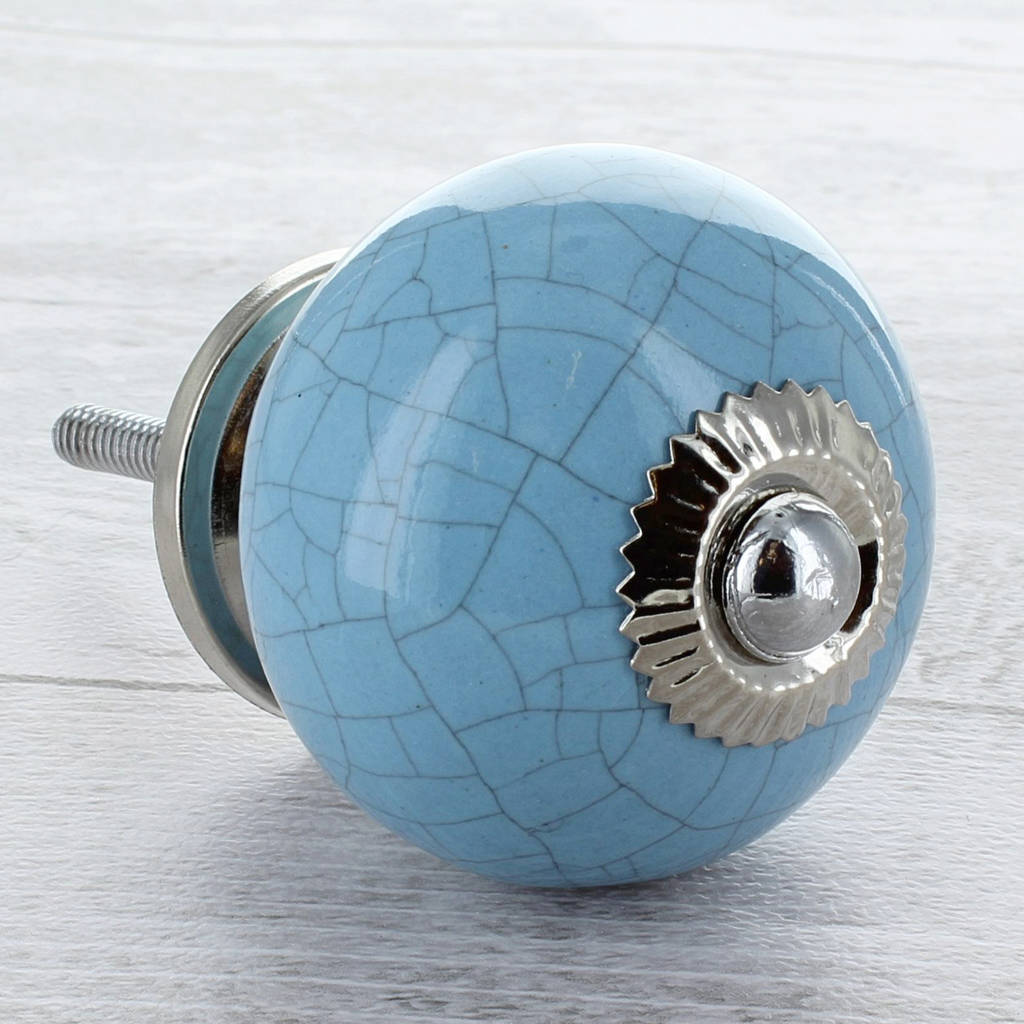 light blue ceramic door knob cupboard drawer handle by g decor ...