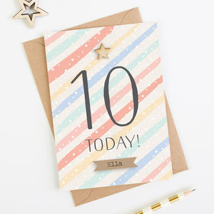 10th Birthday Card Personalised Ten