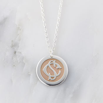 Silver And Rose Gold Entwined Monogram Necklace