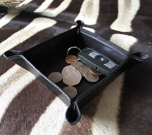 Black Foldable Leather Coin Tray - cufflink boxes & coin trays
