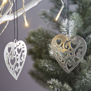 Carved Silver Heart Decoration - new in christmas