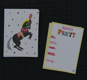 12 Childs Party Invites Circus Horse Design - childrens party invitations