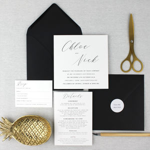 'The Chloe' Modern Calligraphy Wedding Invitation - wedding stationery