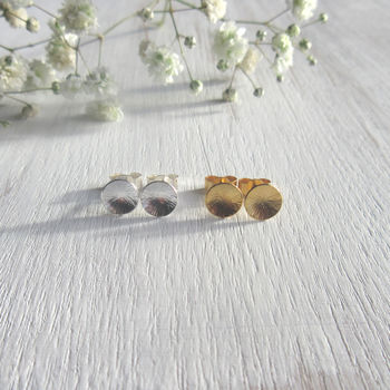 Sterling Silver Domed Circle Earrings