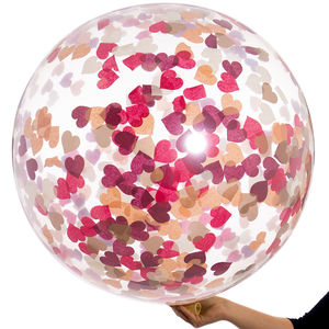 Berry Blush Giant Heart Confetti Balloon - room decorations