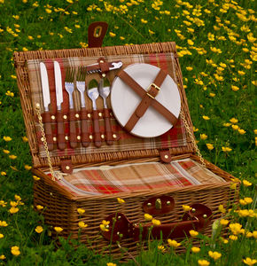 Personalised Amber Tartan Chiller Picnic Hamper For Two - garden sale