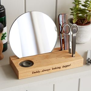 Personalised Grooming Station In Solid Oak - gifts for him