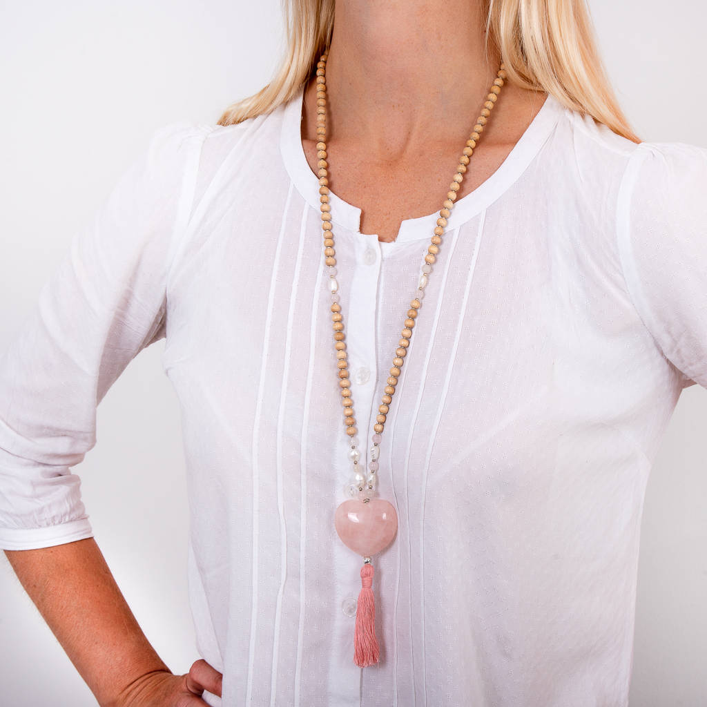Clare's Heart Rose Quartz Silver Rosewood Mala Necklace