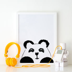 Panda Illustration Children's Print - baby's room