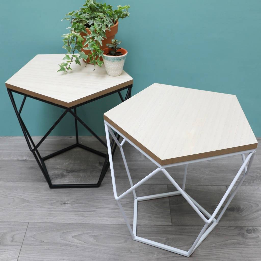 Geometric Wooden Side Table Tables