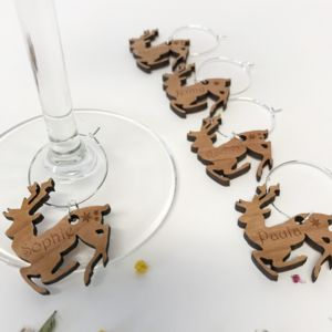 Five Personalised Christmas Reindeer Wine Glass Charms - dining room