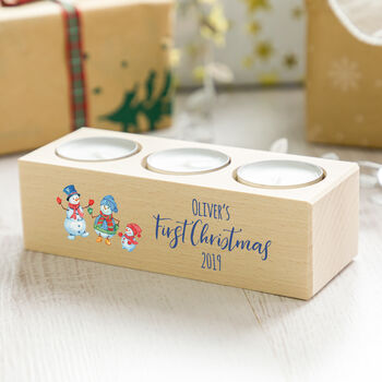 Personalised First Christmas Candle Holder