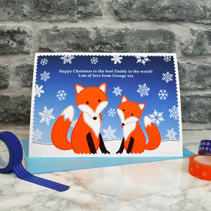 'Foxes' Personalised Christmas Card From Children