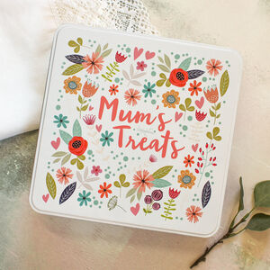 Personalised Mum's Treats Keepsake Box Tin