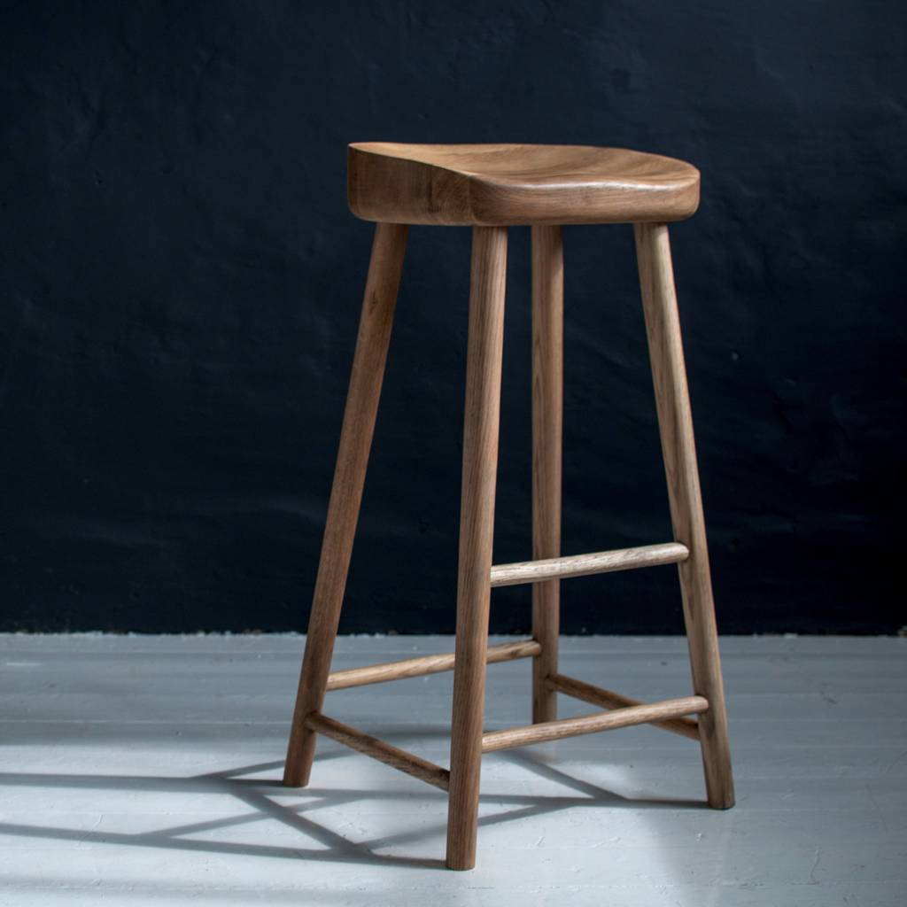 Weathered Oak Bar Stool By Eastburn Country Furniture