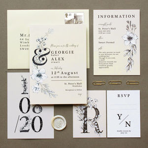 Romantic Ivory Flowers Wedding Invite Collection