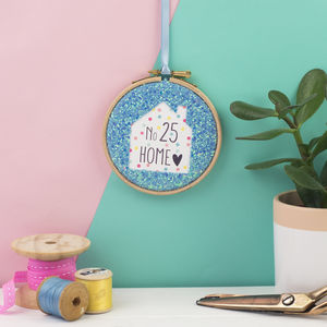 New Home House Number Glitter Hoop