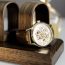 Luxury Walnut Quint Watch Stand Display Personalised