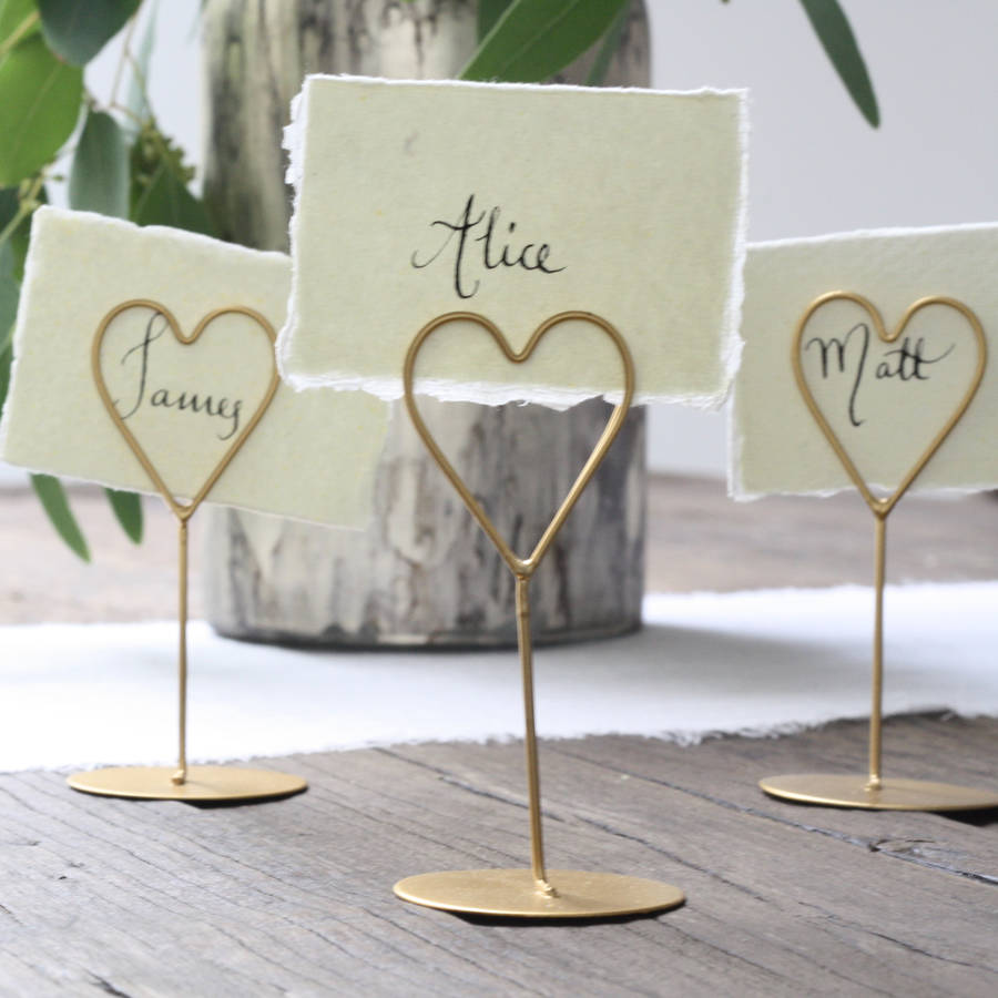 Set Of Eight Heart Name Place Holders White Gold