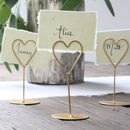 Set Of Eight Heart Name Place Holders White / Gold
