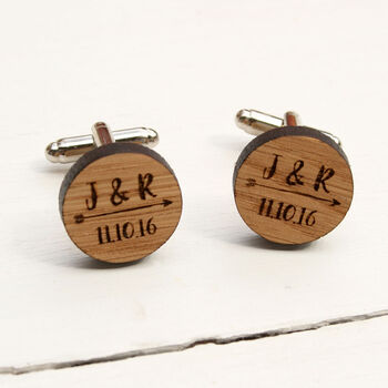 Round Wooden Arrow Anniversary Cufflinks
