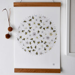 Bees Buzzing In Flowers Print