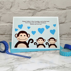 'Little Monkeys' Personalised Father's Day Card