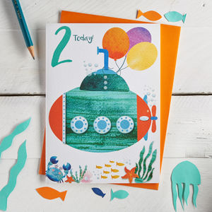 Age Two Submarine Birthday Card