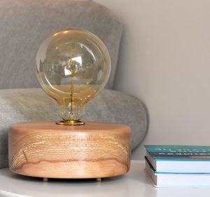 Bantham Beech Wood Table Lamp With Edison Light Bulb - lighting
