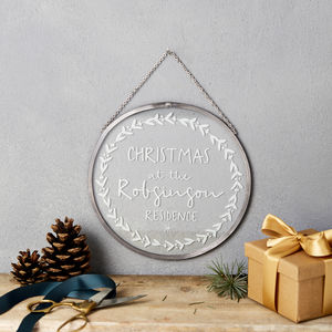 Personalised 'Christmas Residence' Glass Decoration