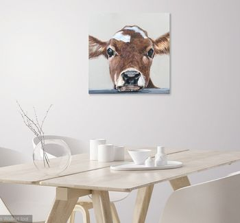 Baby Blue Moo, Canvas Cow Print