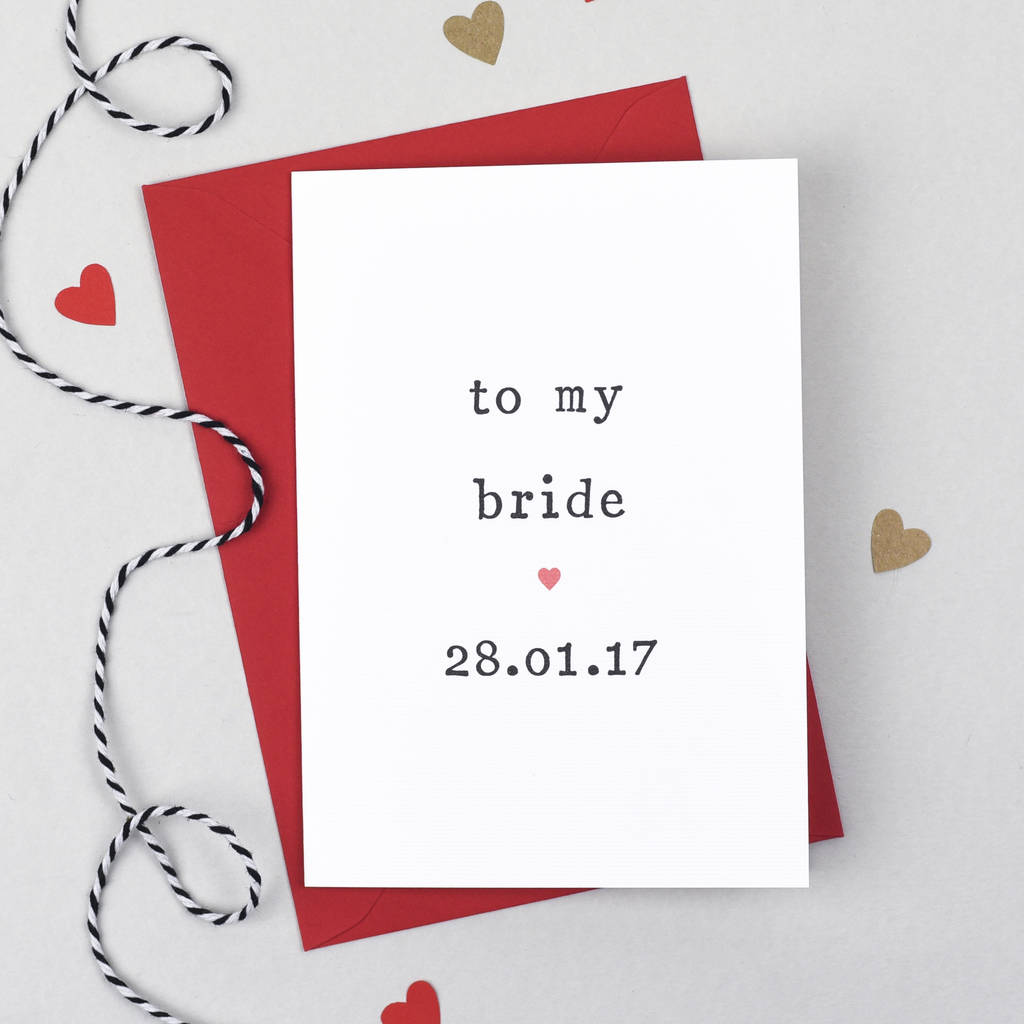 Personalised To My Bride Or Groom Wedding Day Card By The Two